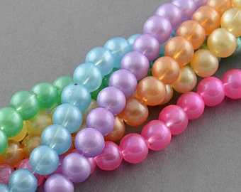 Pastel Glass Bead Mix  - 8mm - 100 beads - #RB117