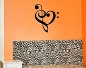Music Heart vinyl lettering wall decal computer decal sticker art
