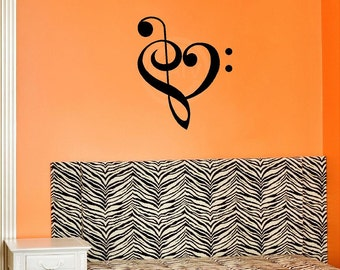 Music Heart vinyl lettering wall decal computer decal sticker art