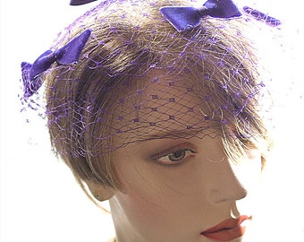 Vintage Bird Cage Veil Purple Netted Hat Bright Purple Bows