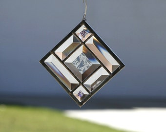 MORNING STARS SUNCATCHER - Stained Glass, Sun Catcher, Stain Glass, Geometric, Clear Bevels, Beveled,  Dichroic  Bevels, Ready to Ship