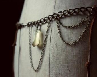 SALE ... The Rambler. Bohemian Suede Lace, Vintage Brass and Honey Quartz Hip Belt.