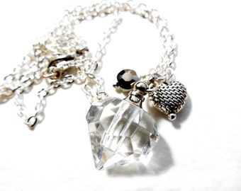 Perfume Locket and Silver Charm Victorian Style Valentine Necklace by Chelsea Girl Designs