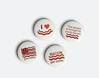 Buttons - Bacon Love - Original Minimalist 1 inch Pinback Button Set of 4