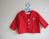 1960s Vintage Childrens Jolie of New Orleans Country Club Red Suit Jacket  2T