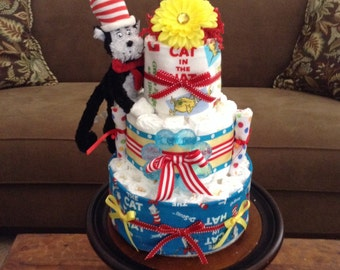 Dr Seuss Diaper Cake Baby Shower Centerpieces Plush other sizes and Characters available
