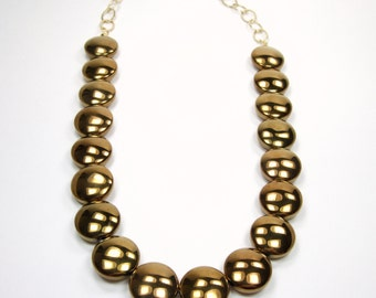 Bronze Goddess Collection-Large Bronze Glass Coin Beaded Statement Necklace Chunky Smooth Autumn Fall Season Winter Necklace