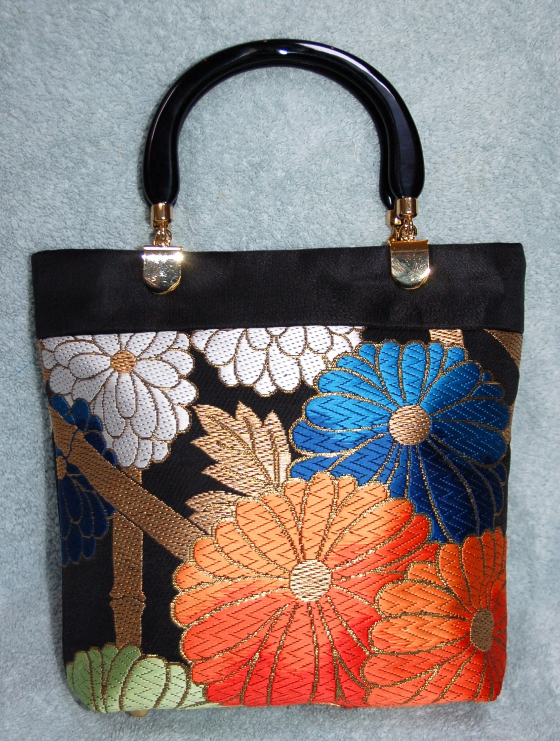 japanese obi handbag with kimono lining and acrylic handles. Black Bedroom Furniture Sets. Home Design Ideas
