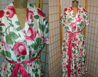 40s large rose print maxi dress womens size large