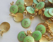 Vintage 9 Gold Plated Art Deco Enameled Pendants with Jump Ring 19mm  N5L