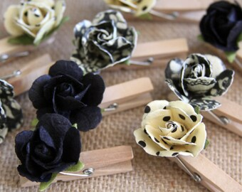 Handmade Paper Clothes Pins, Mini Paper Flowers, Party Decor, Photo Hangers