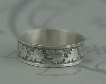 Fire Maple Ring--Maple Leaf Wedding Band in Solid Sterling Silver--Men's Wedding Ring--Fall Wedding--Autumn Silver Band--Canada Leaf