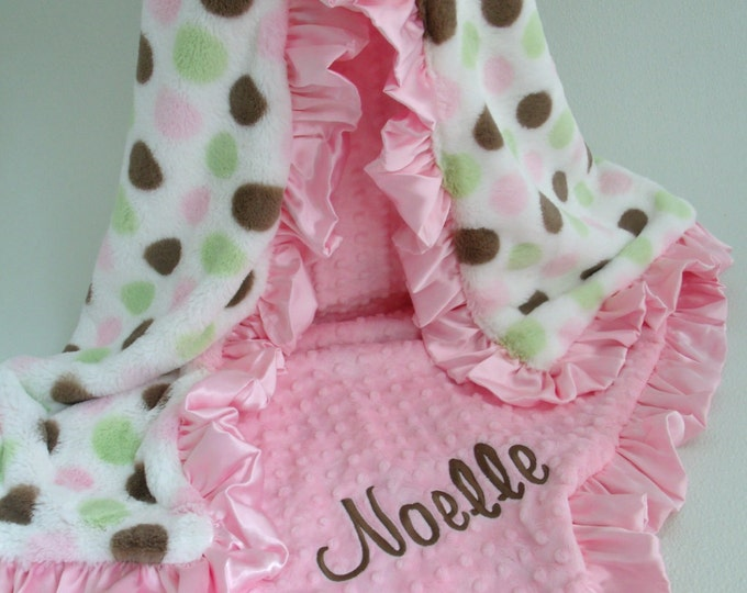 Pink and Brown Polka Dot Minky Blanket, Pink Brown Mod Dot Minky Baby Blanket, Pink Ruffle Blanket Can Be Personalized