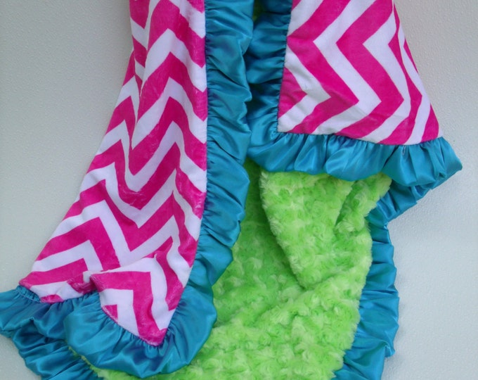 Hot Pink Chevron and Lime Green Minky Blanket, for baby, toddler, teen, or adult Can Be Personalized