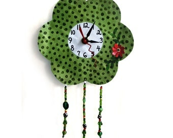 Recycled Metal Flower and  Bead Fringe Clock