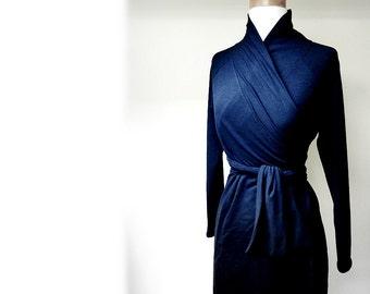 Short wrap dress with shawl collar, organic cotton, more colors, sweater dress, sweater tunic, winter dress, wrap dress, handmade in Canada
