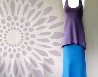 Long sleeveless tunic, organic french terry shirt, long flare top, jersey shirt, made to order top, handmade in Canada clothes