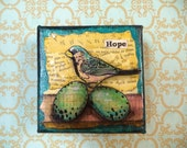 HOPE - Birdy Inspiration Canvas an original mixed media painting watercolors acrylic ephemera bird  nursery eggs french script textured
