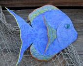 Art metal sculpture - Tropical Fish - reclaimed metal wall marine art  By Frivolous Tendencies