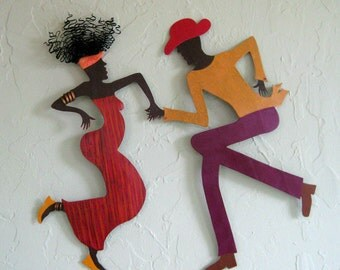 Metal Wall Art Cajun Dance Sculpture Recycled Metal Caribbean Decor Island Dance Theme Wall Hanging 17 x 18