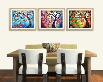 Set of 3 Prints, Cherry Tree of Life Giclee Prints, Whimsical Tree Art, Rustic Country Tree Prints Wall Decor