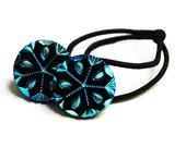 Black & Silver Blue Ponytail Holder, Vintage Czech Glass Buttons with Cutwork Design Hair Accessory