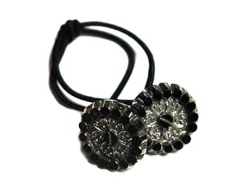 Art Deco Style Ponytail Holder, Black & Silver Vintage Glass Button Hair Elastic Tie, Art Deco Era, Hair Accessory