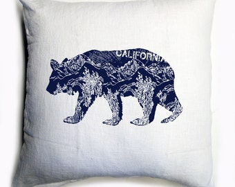 CALifornia BEAR White & Navy Eco Throw Pillow Cover 20x20