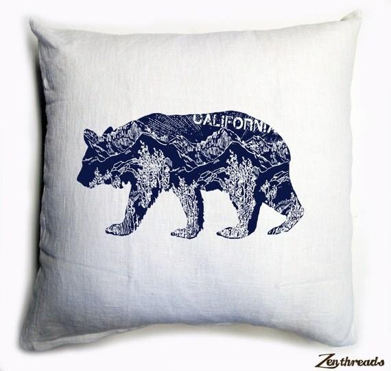 CALifornia BEAR White & Navy Eco Throw Pillow Cover 20x20