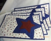 SALE!!!! --- Americana Country Style Place Mats- Red, White and Blue- set of 4, Item number 300-1001, FAAP