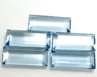 set of 5 ~ 12.5 x 5mm Baguette  Faceted  ~ Lab. Aquamarines ~ item # labaq1~ FDK