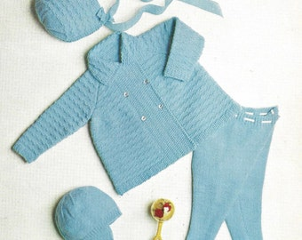 "PDF Knitting Pattern  Baby Boy/Girl Pram Set to fit sizes 18-20"" (Deb365)"