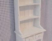 Dollhouse Kitchen Hutch or Dresser,   Tatty chic hutch, , white dresser, twelfth scale dollhouse miniature