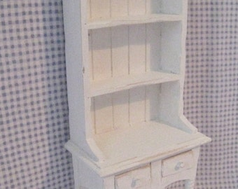 Dollhouse Kitchen Hutch or Dresser, Tatty chic hutch, white dresser, twelfth scale, dollhouse miniature