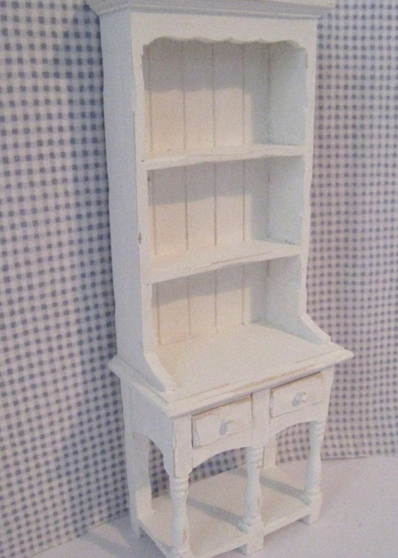 Dollhouse Kitchen Hutch or Dresser, Tatty chic hutch, white dresser, twelfth scale, dollhouse miniature