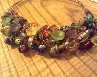 Copper Eclectic Crocheted Wire Necklace