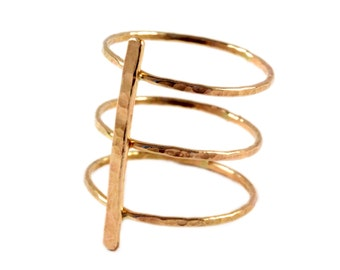 Gold Bar Ring, Three Band Statement Ring, Gold Triple Ring