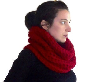 Crochet cowl scarf - red cowl hood - crochet hood - Hooded cowl - crochet scarf - chunky crochet cowl - gift for her - christmas in july