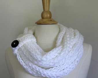 Hand knit chunky cowl scarf - Bright white infinity scarf with button closure -  circle scarf - women's winter accessory - ready to ship