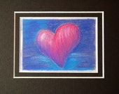 Red Heart on Blue - small original pastel painting, matted to 5 x 7
