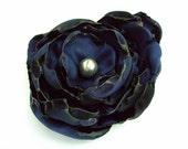 Navy Blue flower accessory, Hair Clip or Brooch, Wedding, Bridal Sash