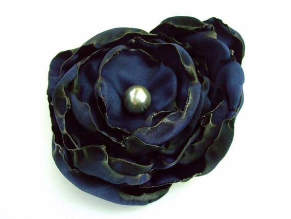 Navy Blue flower accessory, Hair Clip or Brooch, Wedding, Bridal Sash