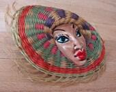 Large ELZAC Glazed Porcelain Brooch: Latin Lady - wearing a handmade woven sombrero style hat