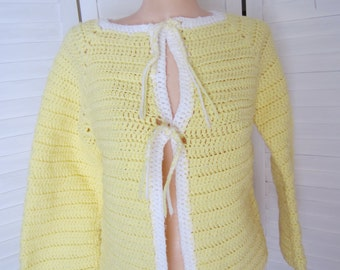 Cardigan Sweater, Yellow and White Crochet from 70s - Size M
