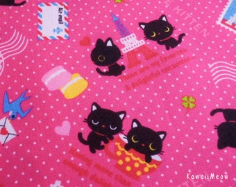 Kawaii Japanese Fabric - Love Kittens Polka Dots Pink- Half Yard - (ko131110)