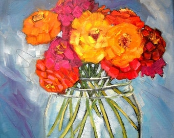 "Flower Painting, Floral Still Life, ""Jar Full of Sunshine"" by Carol Schiff, 10x10 Oil Painting"