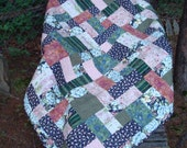 Navy Blue and Pink Floral Lap Throw Quilt