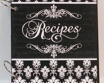 French Damask & Fleur de Lis Custom Blank Wood Recipe Book Personalized Free