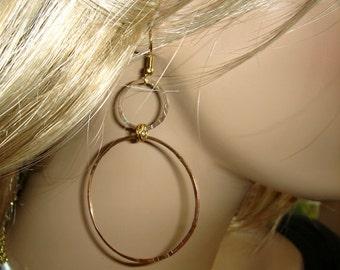 Gold hoop earrings delicate double hoop hammered dangles Circle earrings-Infinity Handmade