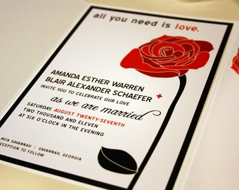 All You Need Is Love Red Rose Wedding Invitations Black And White Modern Wedding  Invitation Set
